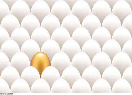 unique: Golden egg standing out from the others