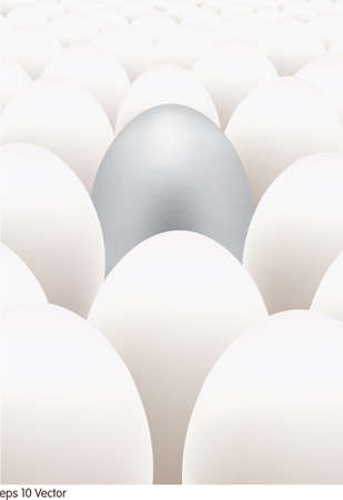 standing out: Silver egg standing out from the others Illustration