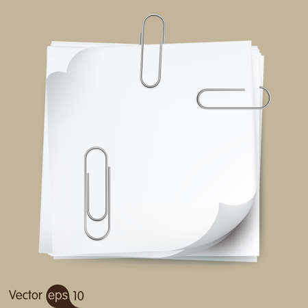 office supply: Paperclip holding a blank paper sheet