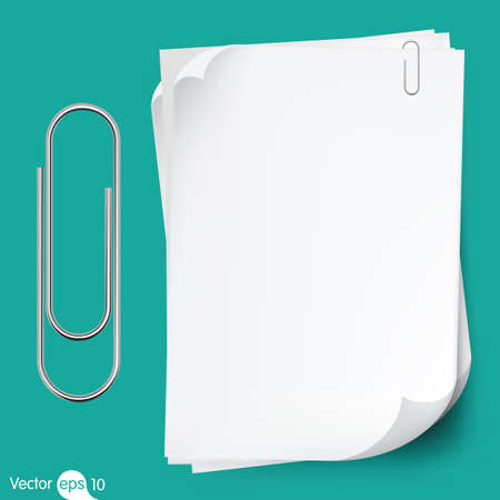 sheet metal: Paperclip holding a blank paper sheet
