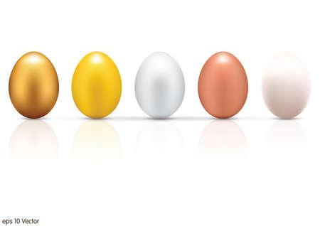 huevo: Huevos met�licos fijados Vectores