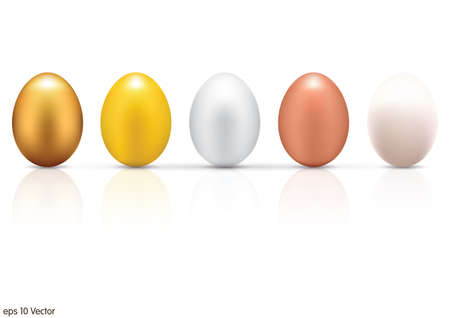 egg shape: Metallic eggs set