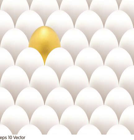 uova d oro: Oro Egg Concept. Uova bianche e dorate uniche Vettoriali