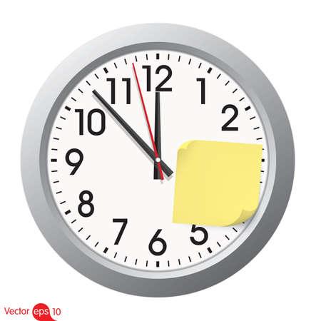sticky note: Clock with a sticky note