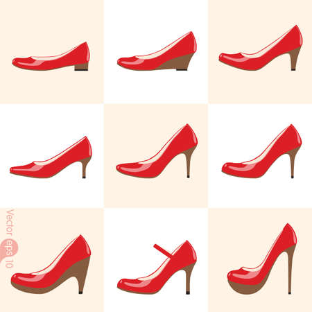 nude woman standing: shoes icon set Illustration