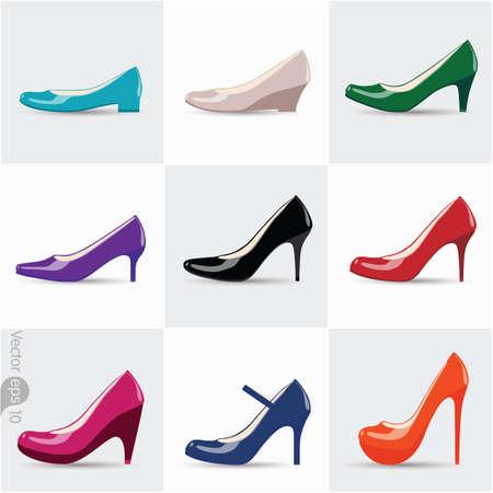 calcanhares: Conjunto de sapatos femininos com saltos