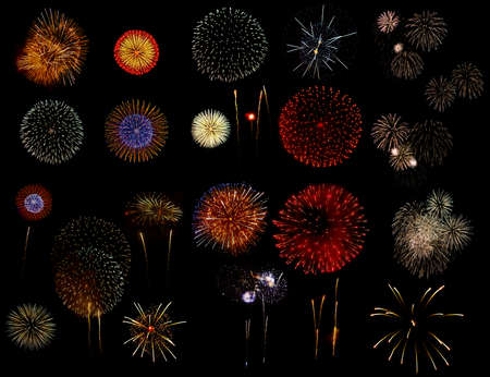 Set Fuochi d'artificio su sfondo nero Archivio Fotografico - 48007002
