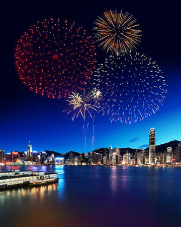 hong kong harbour: Fireworks Display in Hong Kong