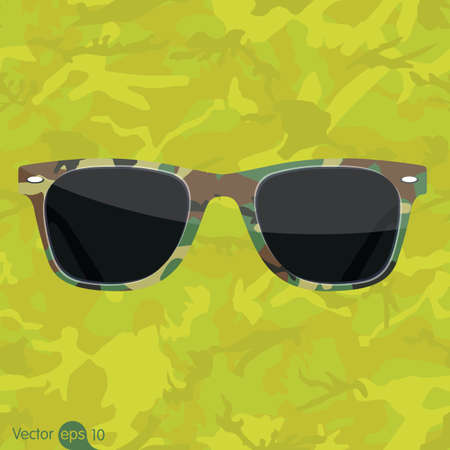 ray ban: Camouflage pattern of Sunglasses Illustration
