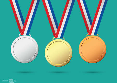 bestowal: Gold, silver and bronze medals. Vector Illustration