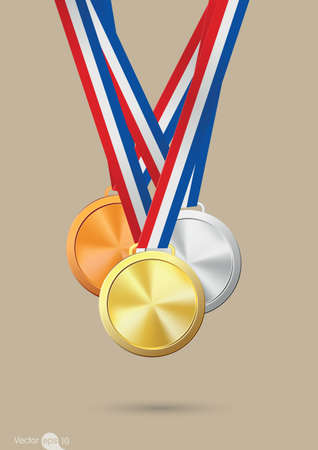 gold silver: Gold, silver and bronze medals. Vector Illustration