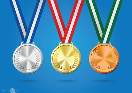 silver: Gold, silver and bronze medals. Vector Illustration