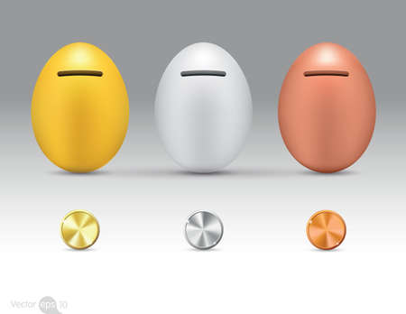 copper coin: Metallic eggs money boxes Illustration