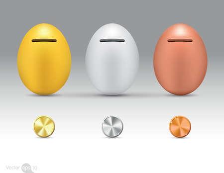 money boxes: Metallic eggs money boxes Illustration