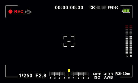 Video camera viewfinder template