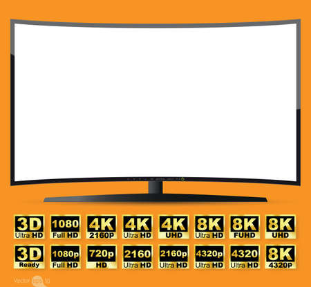 tv screen: Curved TV screen, vector Illustration