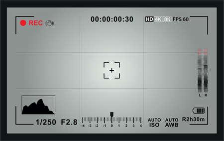 Video camera focusing screen Illustration
