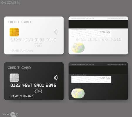 tarjeta de credito: Plantilla de las tarjetas de crédito Vectores