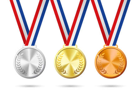 Gold, silver and bronze medals. Vector Illustration