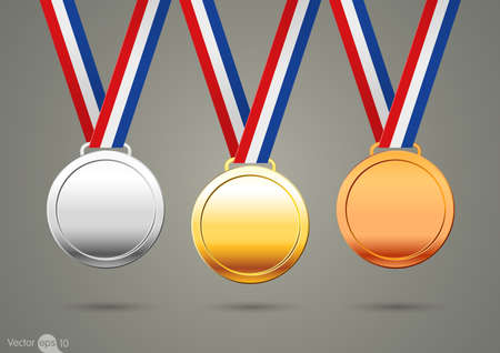 gold, silver and bronze medals.vector Illustration