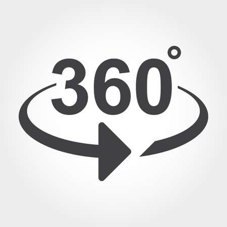 360 graden uitzicht tekenpictogram Stock Illustratie