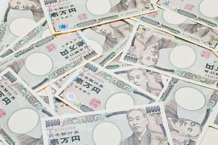 stack of papers: closeup of Japanese yen bank noted Stock Photo