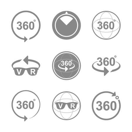 Set van Hoek 360 ?? graden ondertekenen pictogrammen