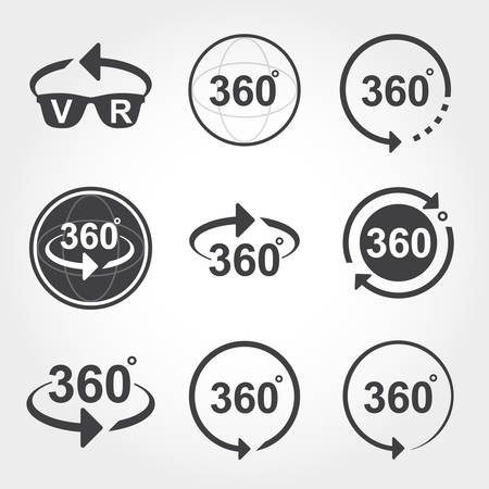 degrees: 360 degrees view sign icons Illustration