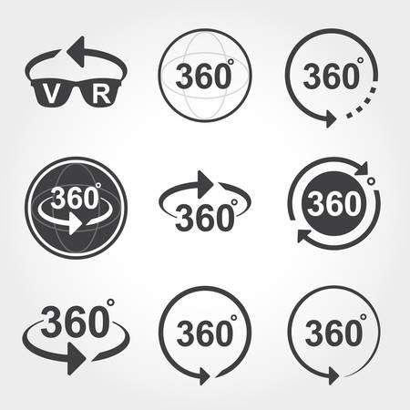 360 graden uitzicht tekenpictogrammen