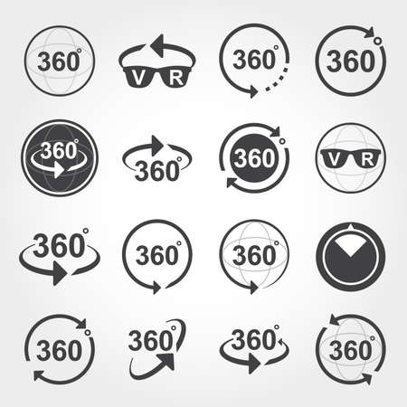 360 degrees view sign icons Vectores