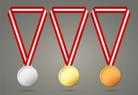 gold, silver and bronze medals Illustration