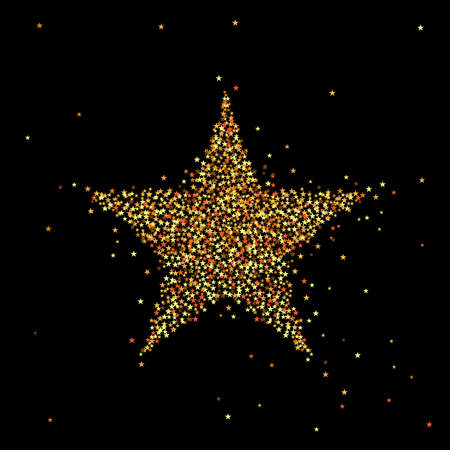 night background: vector illustration of gold star