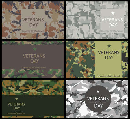 namecard: Set of brochure, poster templates in Veterans Day Illustration