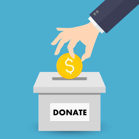 Donation box icon with golden coin
