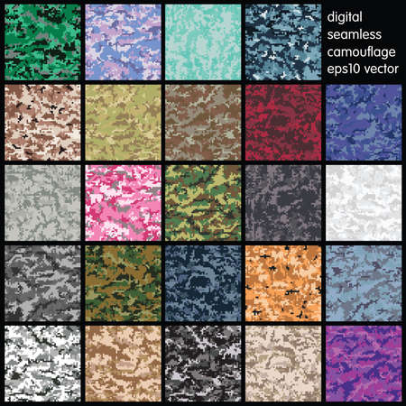 acu: Set of Seamless Digital Camouflage pattern vector