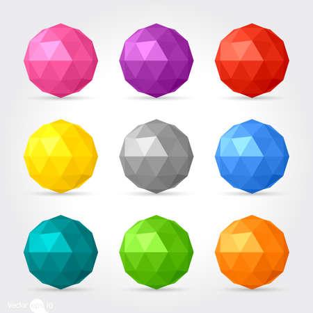 3d 벡터 낮은 폴리 구면 공