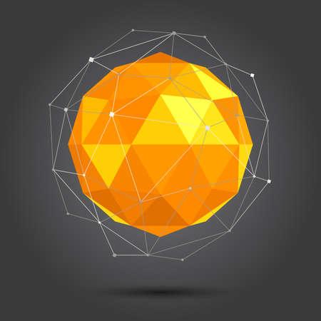 3d vector de baja poli bola esférica Ilustración de vector