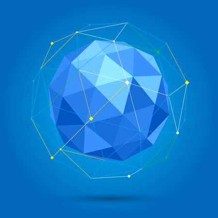 3 d ベクトルの低ポリ球状のボール