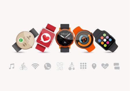 Set of Smart Watches Illustration