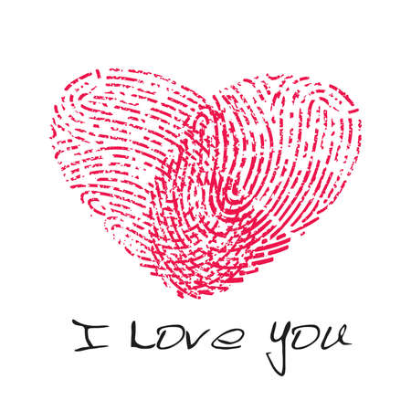 odcisk kciuka: I love you fingerprint heart
