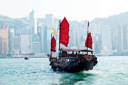 . HONG KONG - May 01, 2017: The Aqua Luna sail around Victoria Harbour Cheung Po Tsai was a 19th-century Chinese pirate.
