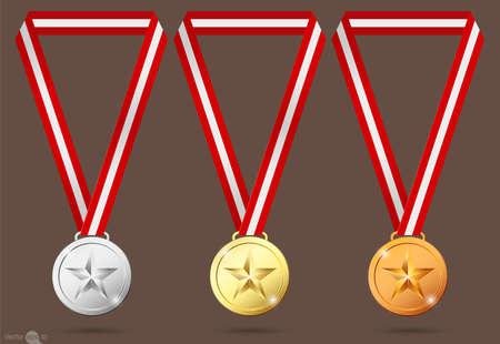 rewarding: gold, silver and bronze medals.vector Illustration