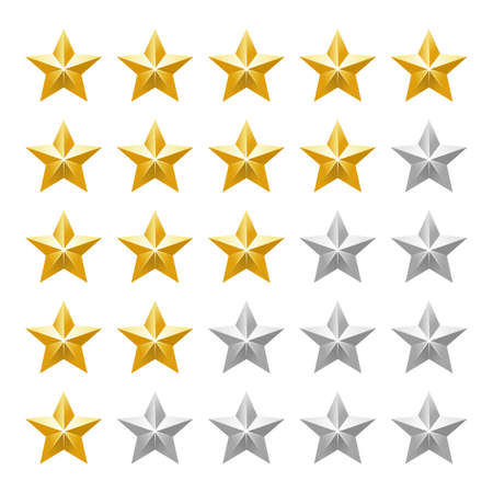Five star ranking icons. Vector illustration.