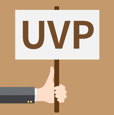 Hand holding UVP sign.