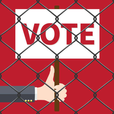 Hand holding VOTE sign vector illustration. Ilustrace