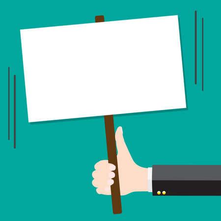raise the white flag: Hand holding Blank sign
