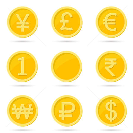 Coin icons vector illustration on white background.