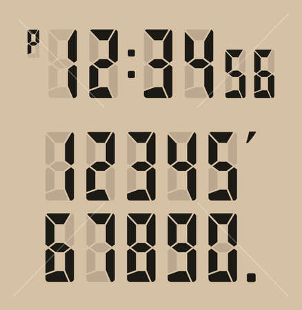 茶色の背景にデジタル時計ベクター イラスト。