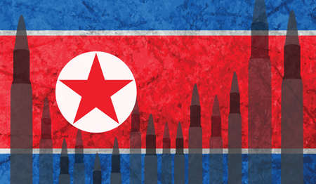 Rockets background North Korea flag. Illusztráció