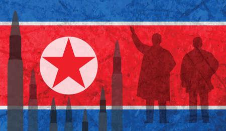 ロケットは北朝鮮国旗を背景します。  イラスト・ベクター素材